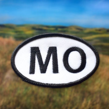 "Missouri MO Patch - Iron or Sew On - 2"" x 3.5"" - Embroidered Oval Appliqué - The Show-Me State - Black White Hat Bag Accessory Handmade USA"