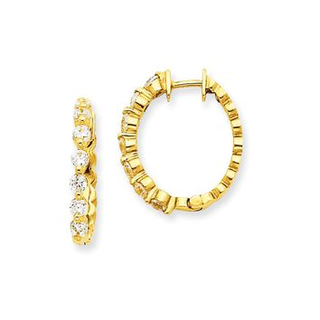 14k Yellow Gold A Diamond Hinged Hoop Earrings