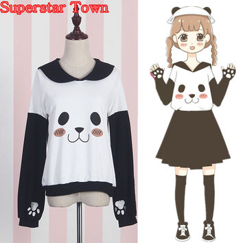 Panda Female Sweatshirts Sailor Collar Anime Hoodie Harajuku Panda Face Claw Pullover Japan Mori Girl Lolita Top Kawaii Cute