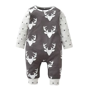 Christmas Baby Rompers Long-sleeved Deer Printed Newborn Toddler Jumpsuit Baby Boys Girls Clothes Infant Clothing