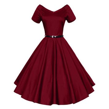 2016 Womens Summer Sexy V-Neck Party Dresses 50s 60s Retro Style Ladies Rockabilly Swing Red Black Blue Vintage Dress Robe Femme