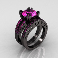 Modern Vintage 14K Black Gold Pink Sapphire Matching Wedding Band R102B-14KBGPS