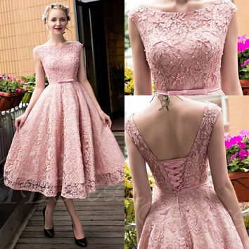 Dusty Pink Vintage Lace Tea Length Short Prom Dresses Jewel Neck Cap Sleeves Beaded Corset Back Teen