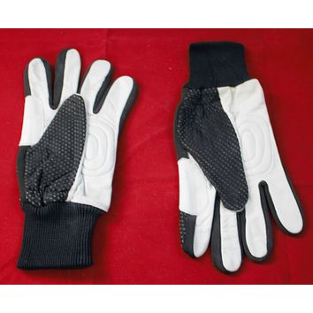 leather gloves yellow black and white size small