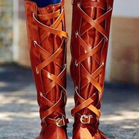 New Yellow Round Toe Chunky Cross Strap Metal Decoration Fashion Knee-High Boots