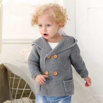 Knitted Baby Bear Hoodie Sweater