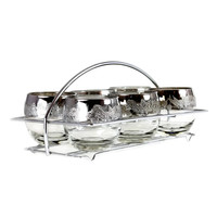 Silver Ombre Berry Embossed Roly Poly Caddy Set