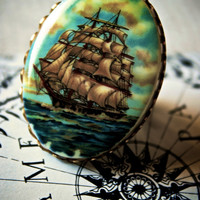 Clipper Sailing Ship Ring