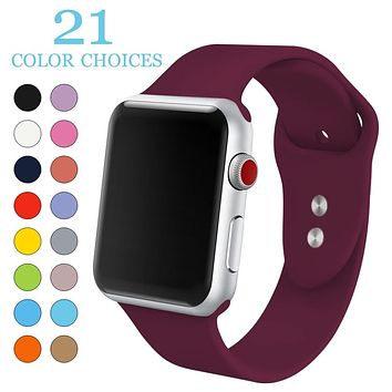 Soft Silicone Replacement Sport Band For 38mm Apple Watch Series1 2 42mm Wrist Bracelet Strap For iWatch Sports Edition