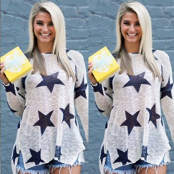Blue and White Stars Print Tops