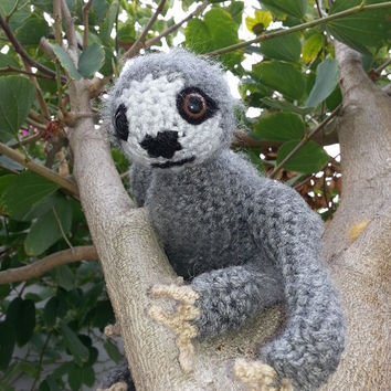Moveable Crocheted Three Toed Sloth