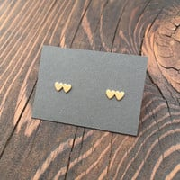 Tiny Double Heart Stud Earrings in Gold with Sterling Silver Posts