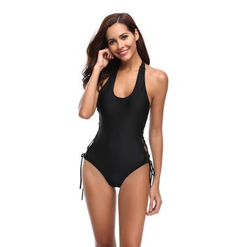 2018 Europe and the United States swimwear new straps gathered one-piece swimsuit solid color bikini
