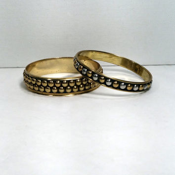 Boho Bangle Bracelets Vintage Bracelet in Brass Gold Tone and Silver Tone  2 Bohemian Bracelets Hippie Studded Bracelet