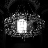 Travel Photograpy, Europe, Prague photography, black and white, chandelier, gothic, romantic, catherdral - Divine
