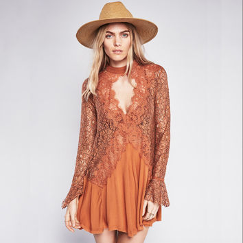 Spring 2017 Women Dress Long Sleeve Hollow Out Sexy Dress People's Bohemian Lace Dress Boho Hippie Style Vestidos Dress