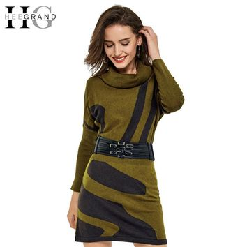 HEE GRAND Spring Women Knitted Dress Batwing Sleeve Sexy Long Turtleneck Striped Casual Loose Vestidos With Sashes WQL3344