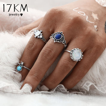 Vintage Turkish Silver Color Stone Fashion Ring Set 4pcs