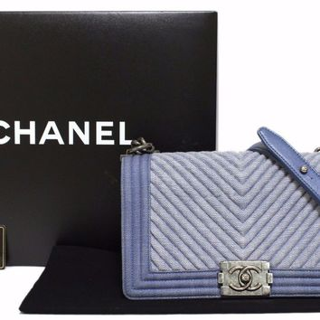 Authentic CHANEL Denim chain shoulder bag BOY CHANEL Blue Vintage (380831)