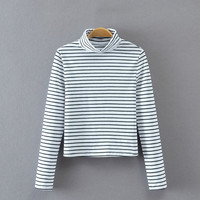 White Turtleneck Striped Stretchy Crop Sweater