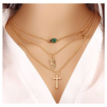 Gold Plated Three Layers Chain Beads and Long Strip Pendant Necklace