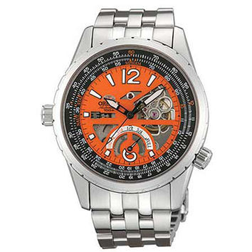 Orient FT00005M Men's Rally Semi Skeleton Orange Dial Power Reserve Stainless Steel Automatic Watch