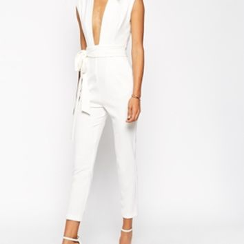 ASOS Plunge Front Tailored Jumpsuit