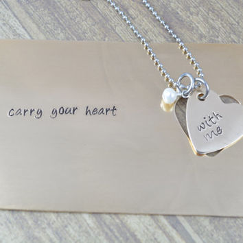 Personalized Bronze Wallet Card Insert & Necklace Set, I Carry Your Heart With Me, Anniversary Gifts, His- Her Gifts by Miss Ashley Jewelry