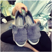 2016 fashion autumn and spring flats with low platform  women loafers rabbit fur ear flat hee plush shoes