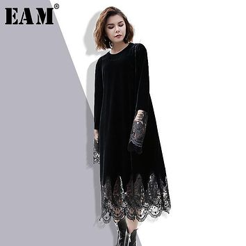 [EAM] 2018 Spring Fashion New O-neck Organza Stitching Velvet Dress Tide All-match Long Sleeve With Pockets Women YA49901