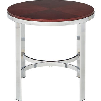 Office Star Alexandria Round End Table In Cherry Finish Top Chrome Metal Plating Legs [ALX09-CHY]