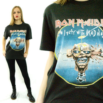 Vintage 80s IRON MAIDEN Can I Play With Madness Seventh Son 50/50 T Shirt Sz L