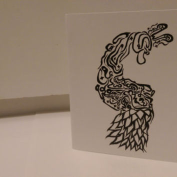 Peacock Card Arabic Calligraphy Original any occasion set (blank inside, folded card)