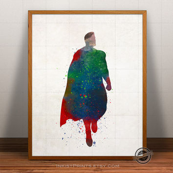 Superman Print Watercolor, Marvel Poster, Superhero Art, Heroes Illustrations, Watercolour, Giclee Wall, Artwork, Comic, Fine, Home Decor