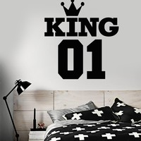 Vinyl Wall Decal Number One King Word Logo Crown Stickers (2137ig)