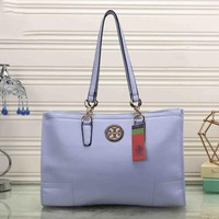 Tory Burch Women Leather Flower Print Shopping Tote Handbag Shoulder Bag Light blue I-MYJSY-BB One-nice™