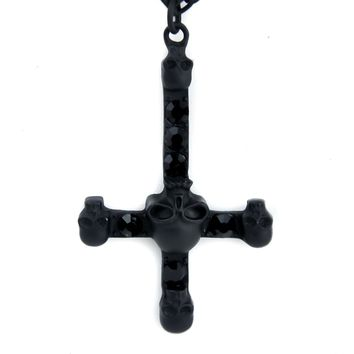 Black Matte Inverted Cross Necklace w/ Skull Gothic Jewelry