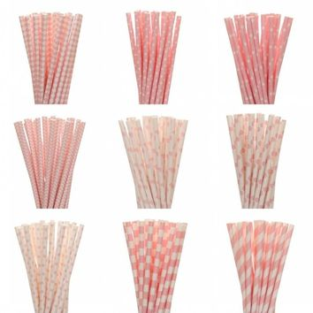 25pcs/lot Pink Paper Straws For Kids Birthday Wedding Decorative Event Party Supply Creative Mickey Minnie Mouse Cupcake Flags