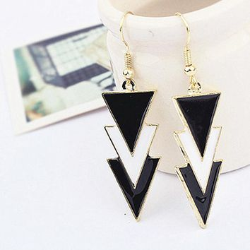 ES320 Long Drop Earrings Women Triangle Dangle Earring Fashion Jewelry Brincos oorbellen Simple Ear Jewelry One Direction