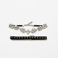 2-PACK OF SHINY FLORAL CHOKERS