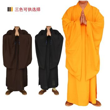 3 colors Shaolin Temple costume Buddhist Robe Zen Clothes Buddhism Meditation Monk meditation clothes Lay Buddhist clothes set