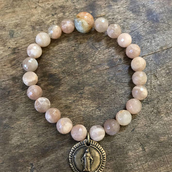 Our Lady of Grace, Boho Faith Jewelry, Pink Gemstone Beaded Bracelet, Mother Mary, Rustic Bronze, Religious Medals, Stacking Bracelet