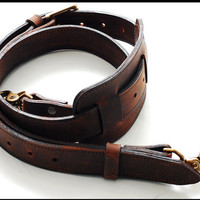 Shoulder Strap - Mustang Brown - Hand made in the USA, Thick Full Grain Leather, removable, 1 leather shoulder pad