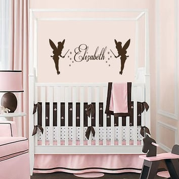 Wall decal art decor decals sticker  Custom Personalized Name  Tinkerbells  Mural L437 Unique Design for Girl Nursery  Room