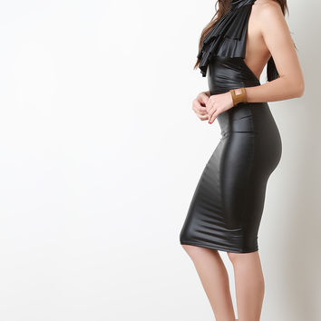 Vegan Leather Ruffle Mock Collar Midi Dress