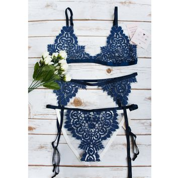 Flame and Lace blue bra
