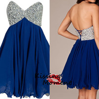 Cute Blue Short prom dresses, Discount Sexy Mini Sweetheart blue Cocktail dress, Affordable Homecoming dresses,silver beading corset 9084