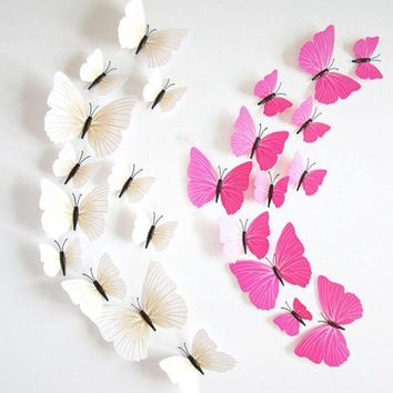PEAPGB2 Hot Sale 3D Butterfly Wall Decals12pcs 6big+6small PVC 3D Butterfly Wall Sticker for Home Decoration