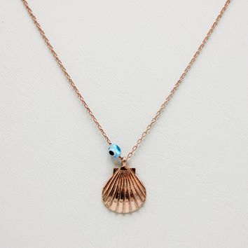 Sea shell with Evil Eye Necklace 925 Sterling Silver