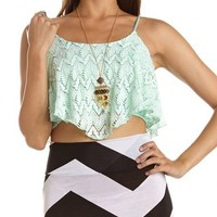 Chevron Crochet Crop Top: Charlotte Russe